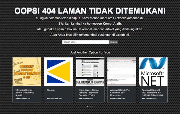 Recommended Content Di Halaman Error 404