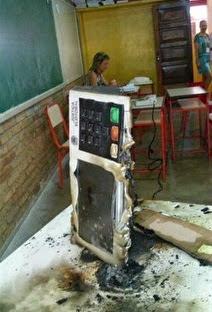 Homem incendeia urna eletrônica com gasolina em MG.