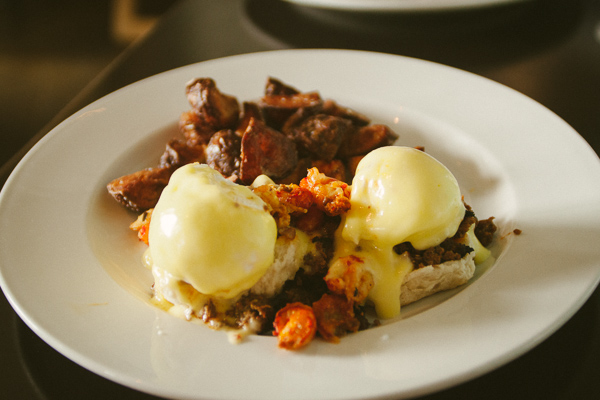 creole eggs benedict at  brunch at Chato in Chattanooga Tennessee
