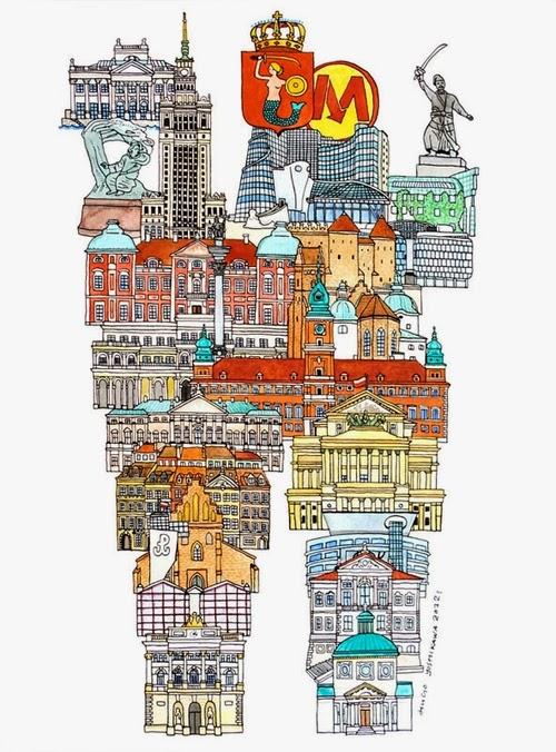 23-W-Warsaw-Poland-Hugo-Yoshikawa-Illustrated-Architectural-Alphabet-City-Typography-www-designstack-co