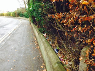 Discarded rubbish in Claypotts Road