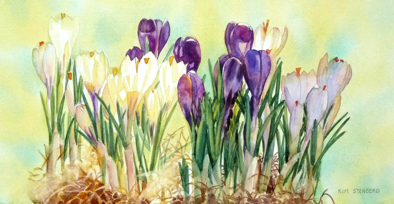 Kim stenberg 39 s painting journal spring light for Spring flowers watercolor