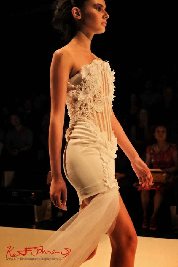 Sharon Widjaja; elegant white evening dress -  New Byzantium : Raffles Graduate Fashion Parade 2013 - Photography by Kent Johnson.