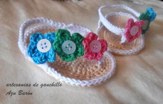Patrones crochet manualidades y reciclado sandalias para - Manualidades a crochet paso a paso ...