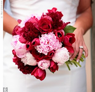 bouquet with red and pink flowers