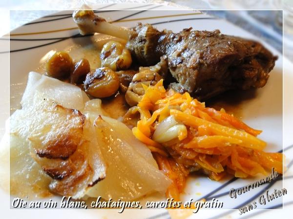 Oie au vin blanc, marrons, et gratin à la graisse d'oie