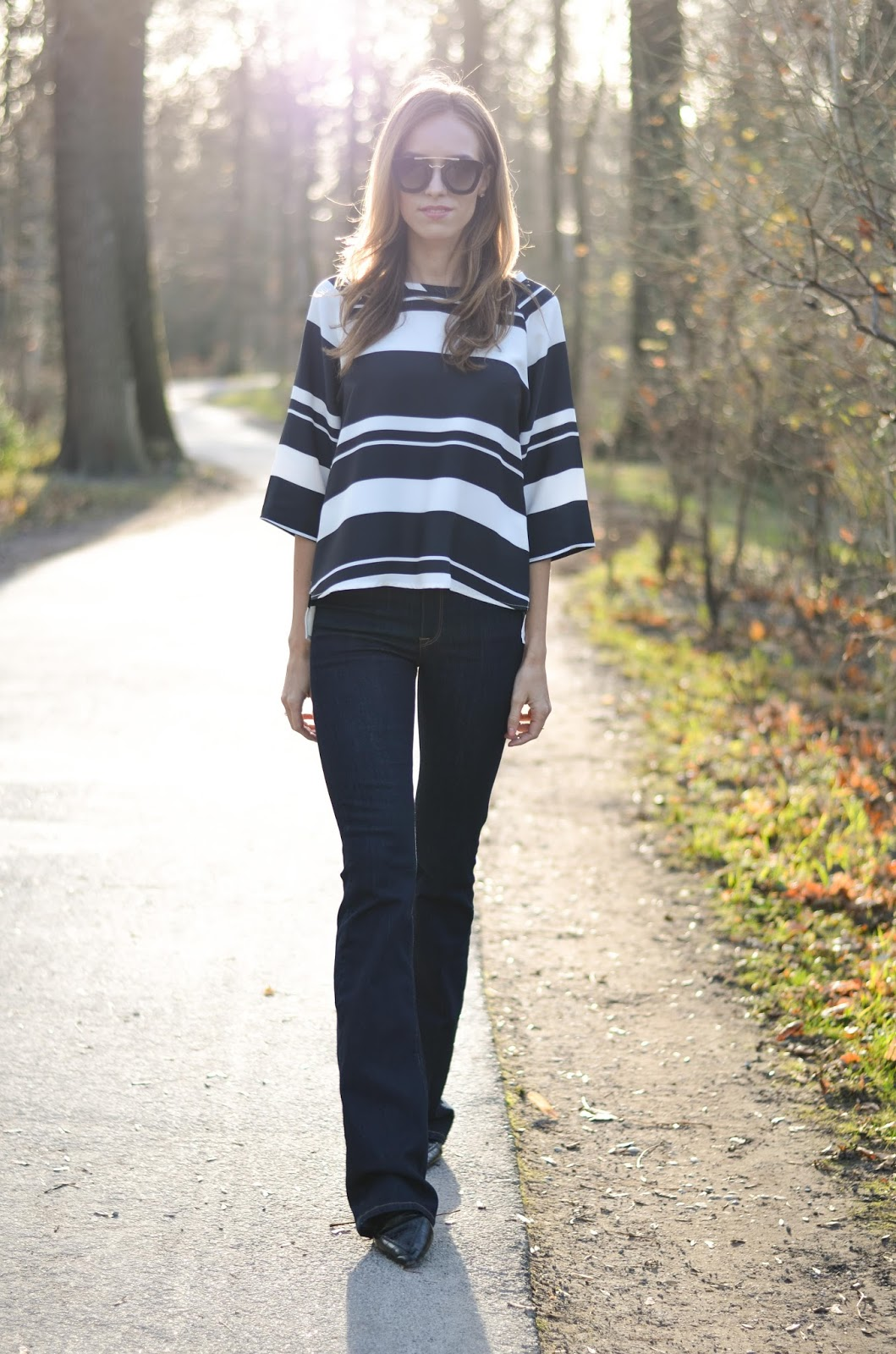 kristjaana mere striped top flare jeans point toe flats fall outfit