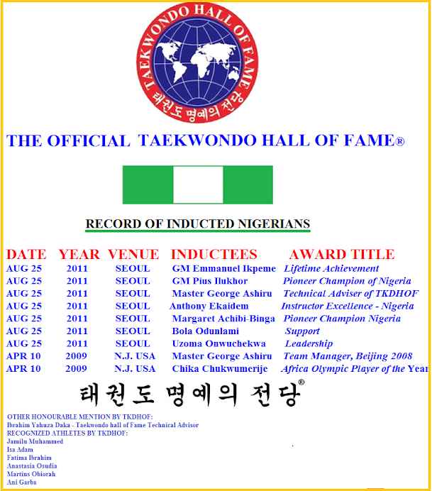 NIGERIA: WHO'S WHO IN TAEKWONDO HALL OF FAME