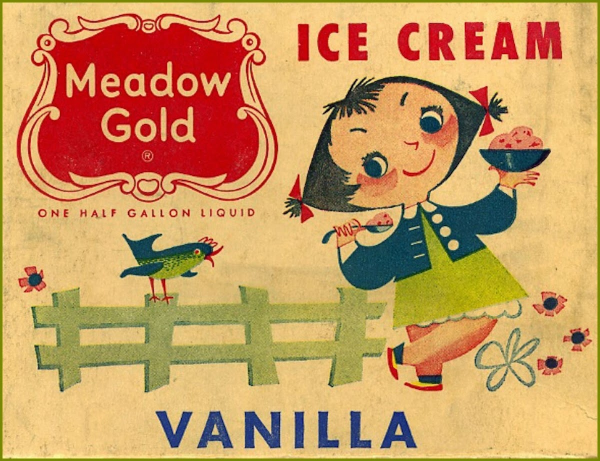 Vintage advertisement for Meadow Gold ice cream