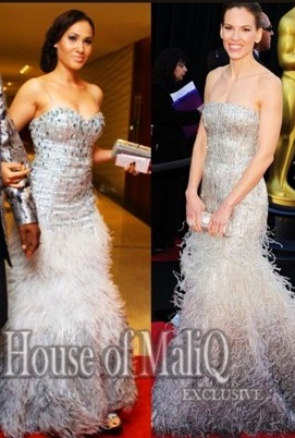 Nollywood /Hollywood - WHO WORE IT BETTER? Caroline Vs Hilary Swank In a Strapless Sequins Feathere