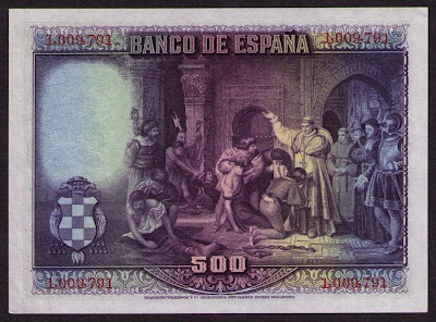 SPAIN currency money 500 Pesetas banknote