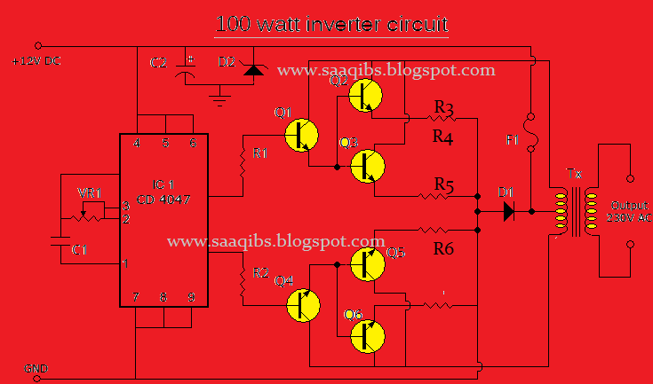 simple 100 watt inverter circuit diagram rh saaqibs blogspot com