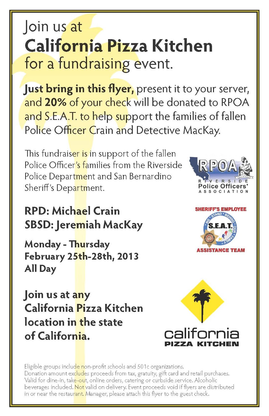 Arcadia Public Library: CPK Fundraiser for Fallen Officers