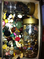 A box of vintage buttons
