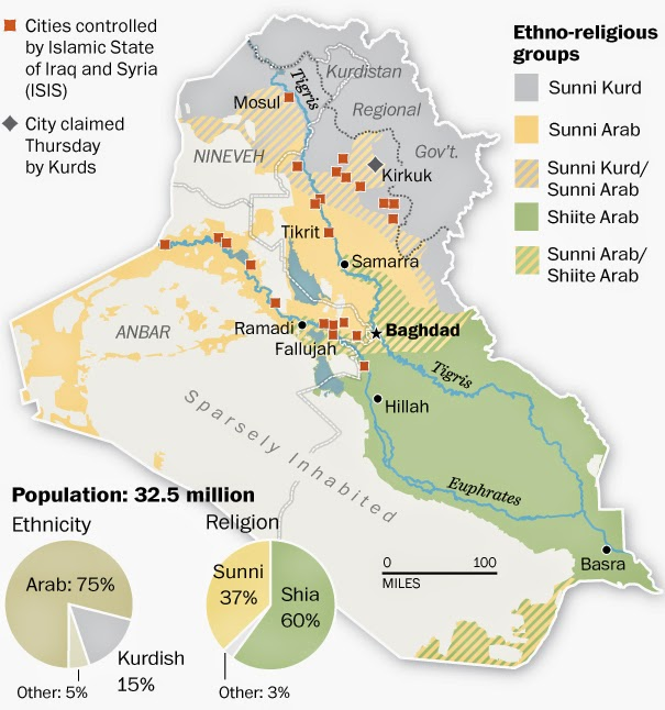 Today in Iraq and Afghanistan War News for Friday June 13 2014 – Map of Iraq and Afghanistan