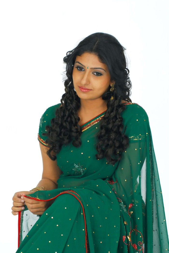 Tamil Actress Monica in Green Saree Photo Shoot Stills