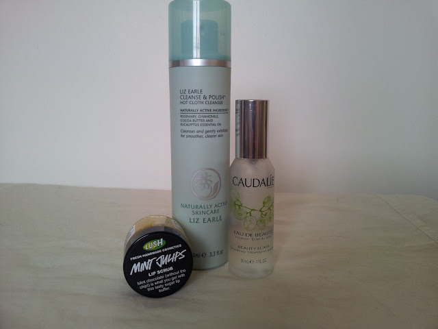 Lush Mint Julips Lip Scrub, Liz Earle Cleanse and Polish Hot Cloth Cleanser, Caudalie Beauty Elixir