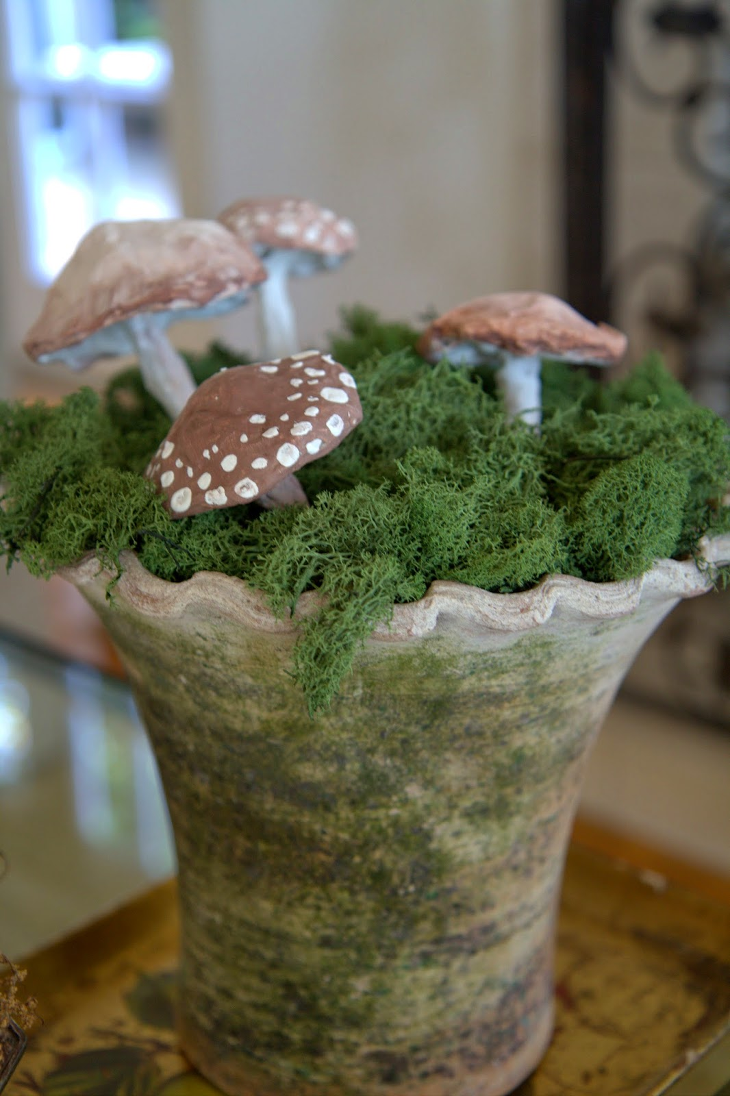 Paper Mache Mushrooms in Moss