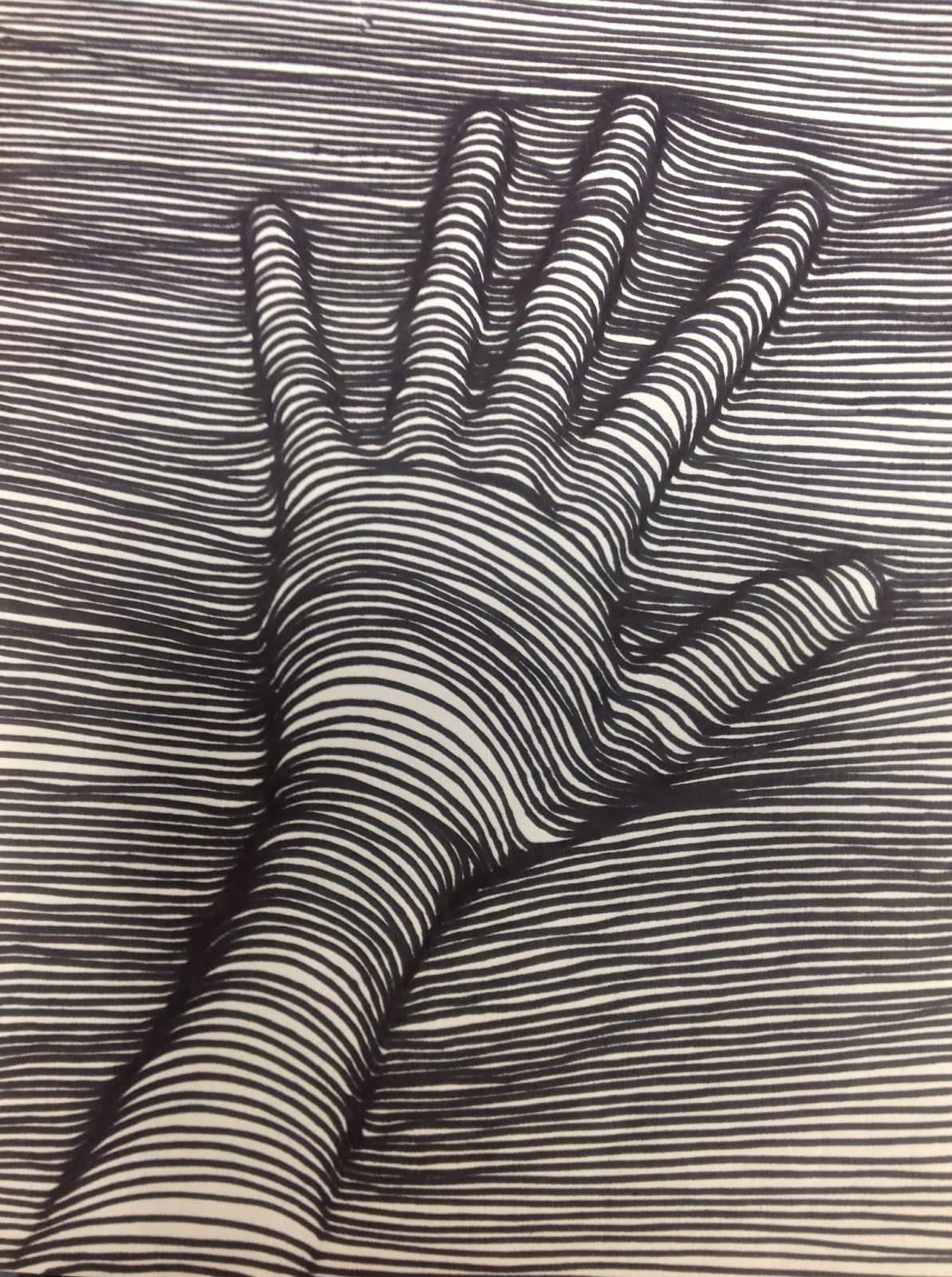 Cross Contour Line Drawing of a Hand