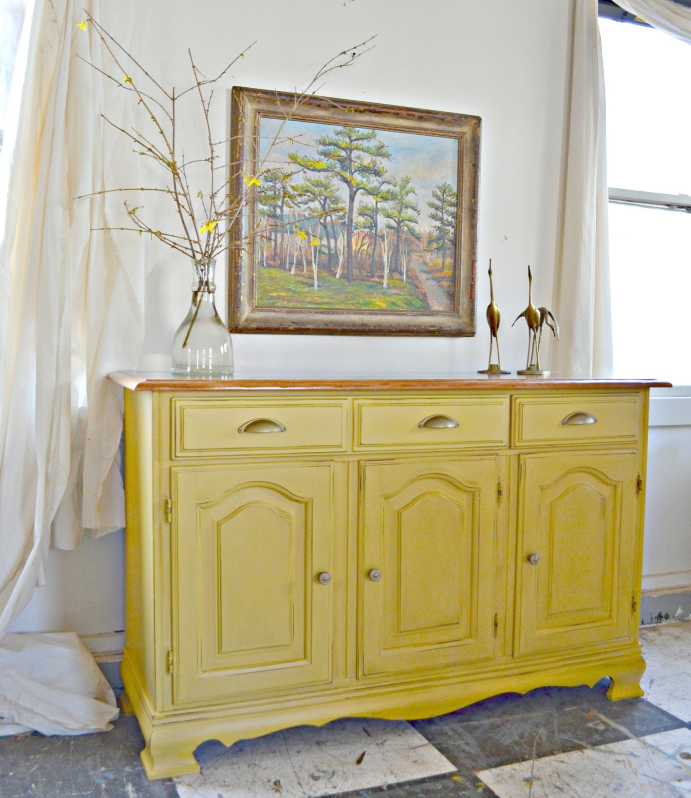 Heir And Space A Sideboard In Buttercream Yellow