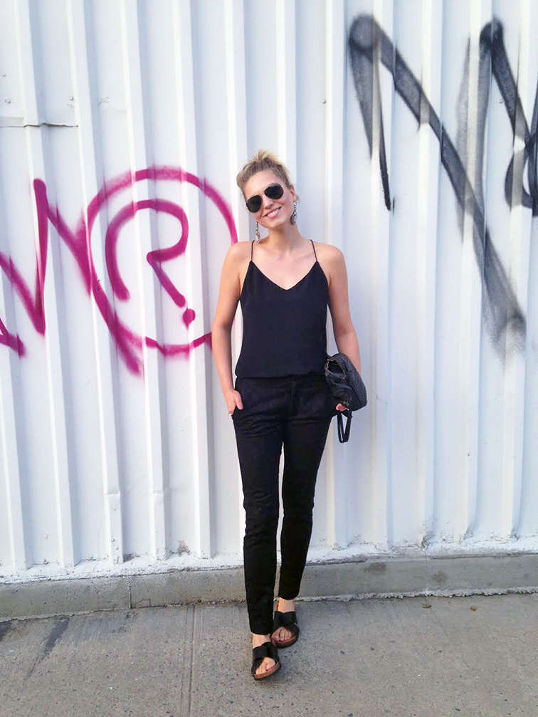 All black look, graffiti wall, Brooklyn New York, Ray-Ban aviators, minimalism