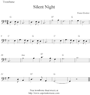 Silent Night, free Christmas trombone sheet music notes