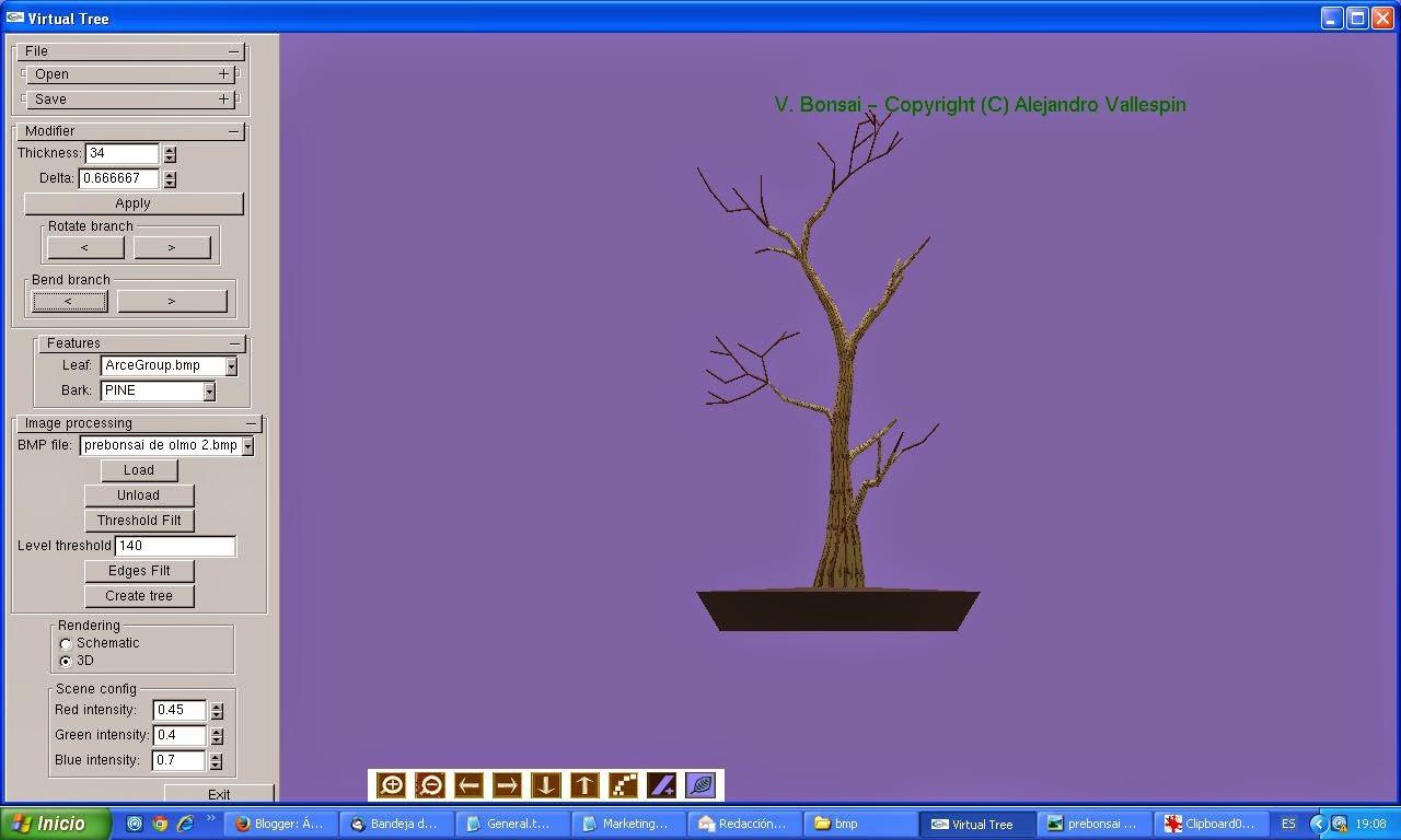 Primer paso modelado 3D de bonsai creado con virtualBonsai sin hojas