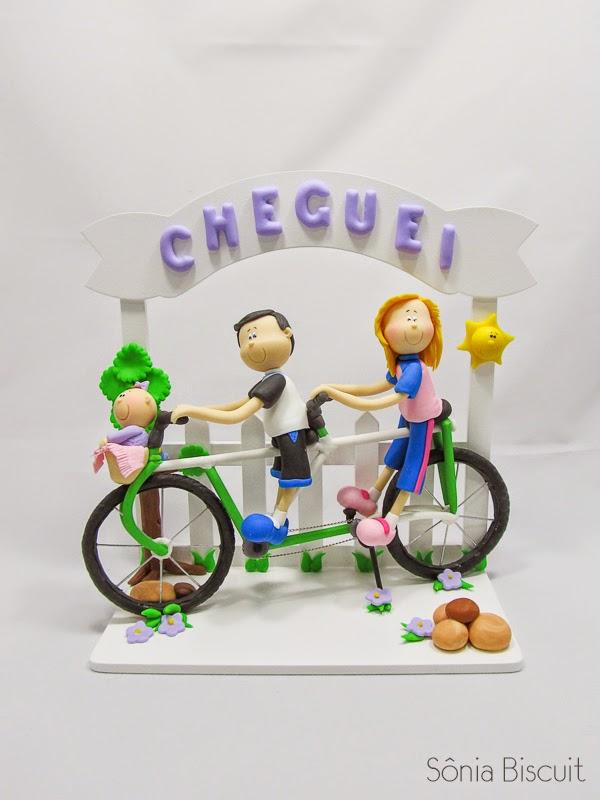 Quadro Porta de Maternidade Cheguei Biscuit Cliclistas Bicicleta