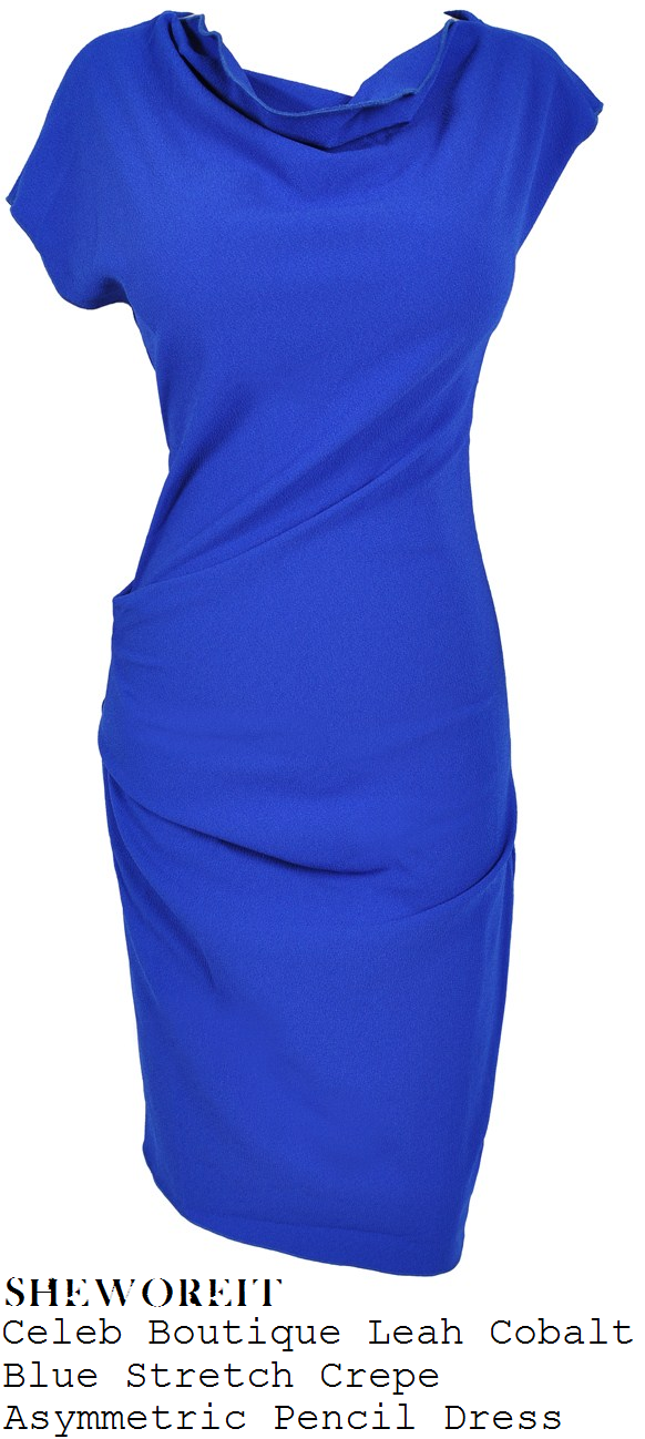 rochelle-humes-bright-cobalt-blue-asymmetric-short-sleeve-drape-cowl-neck-crepe-pencil-dress-this-morning