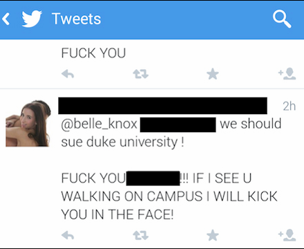Belle Knox twitter tweet Duke mean tweets