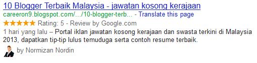 Portal Iklan Jawatan Kosong CareerOn9 di Iktiraf Google Sebagai 10 Blogger Terbaik Malaysia - TERKINI JANUARI 2013.