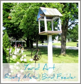 Yard Art - Rusty Metal Bird Feeder @ Rustic-refined.com