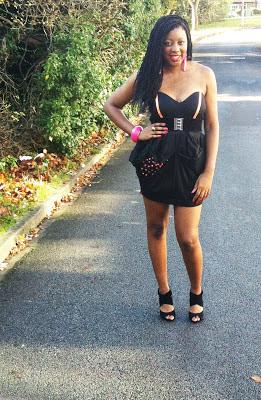 clashing colour black dress