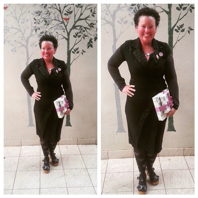 Carly Findlay black dress