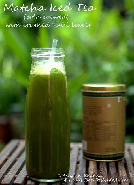 Matcha and Tulsi Iced tea