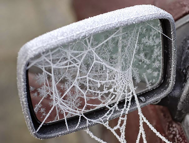 #2 Some Ice Spider Webbed My Car - 15+ Cars That Winter Turned Into Art