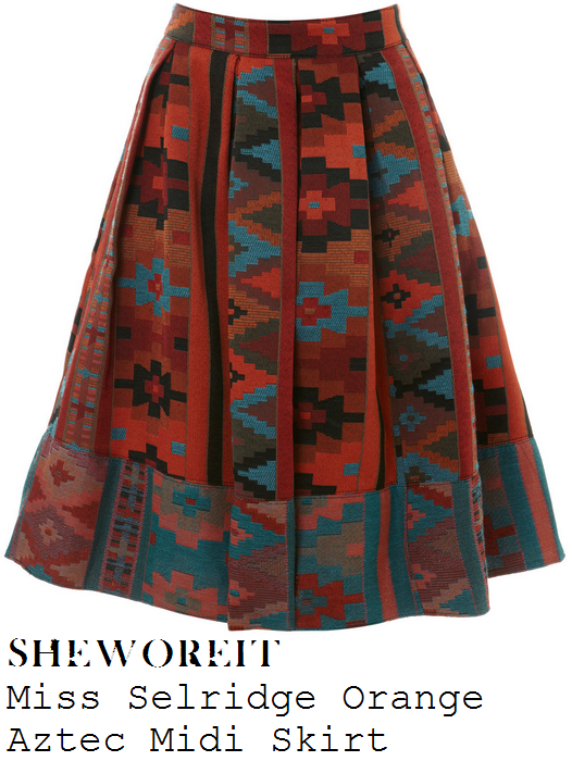 lydia-bright-orange-multi-coloured-aztec-blanket-print-pleated-midi-skirt-ibiza