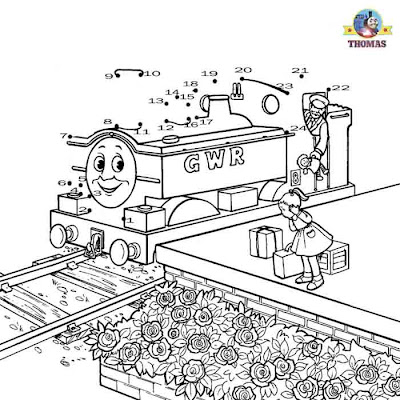 Kids games dot to dot numbers coloring pictures free online Thomas duck the great western engine
