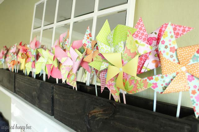 spring mantel paper pinwheels
