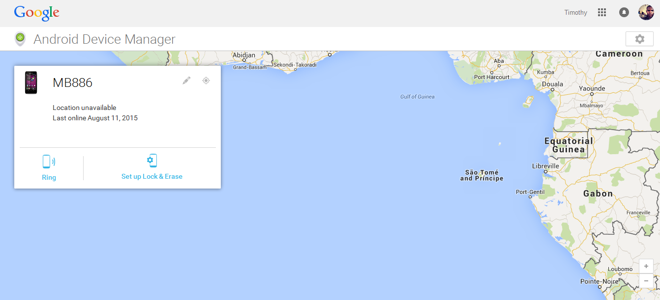 Google android device manager interface