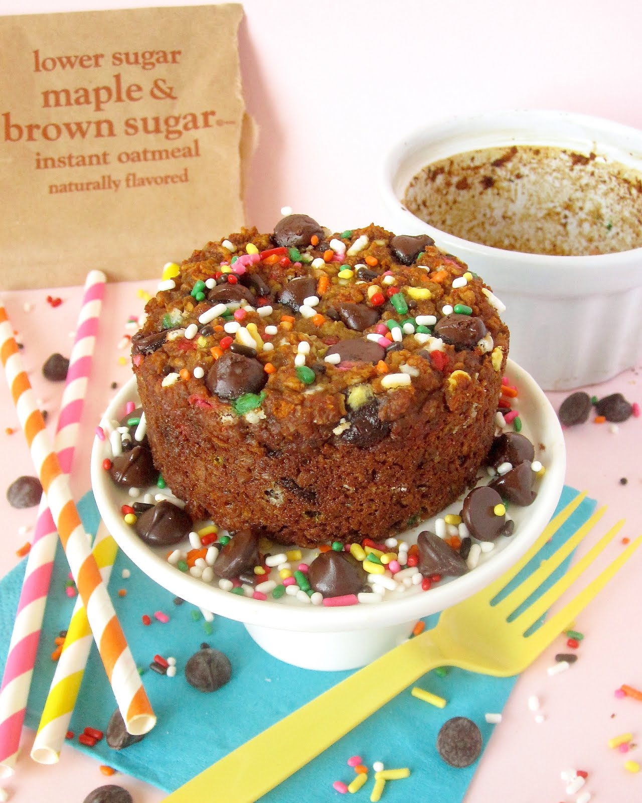 Single Serving Skinny Birthday Cake Baked Oatmeal Egg Free Dairy
