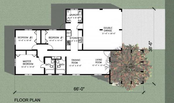 Plano de casa moderna con 3 dormitorios desarrollado en un for Planos casas una planta 3 dormitorios