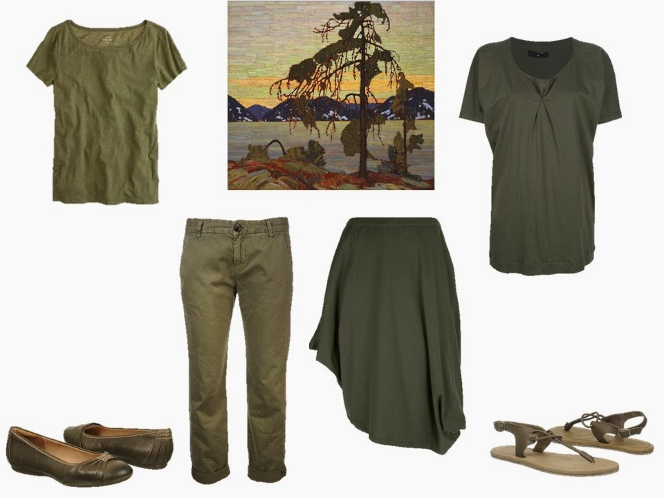 Jackpine by Tom Thompson with four green pieces of clothing