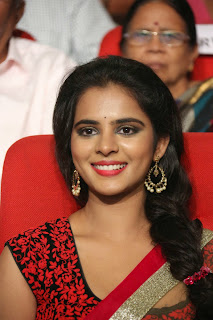 Actress Manasa Picture Gallery in Saree at Rowdy Fellow Movie Audio Launch 007