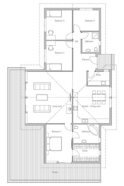 Affordable home plans economical modern home plan ch192 - Plan de maison campagne ...