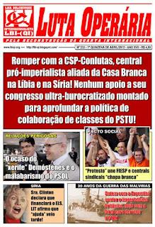LEIA A EDIÇÃO DO JORNAL LUTA OPERÁRIA, Nº 233, 1ª QUINZENA DE ABRIL/2012