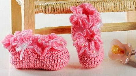 sapato rosa em croche para o bebê croche com receitas e gráficos