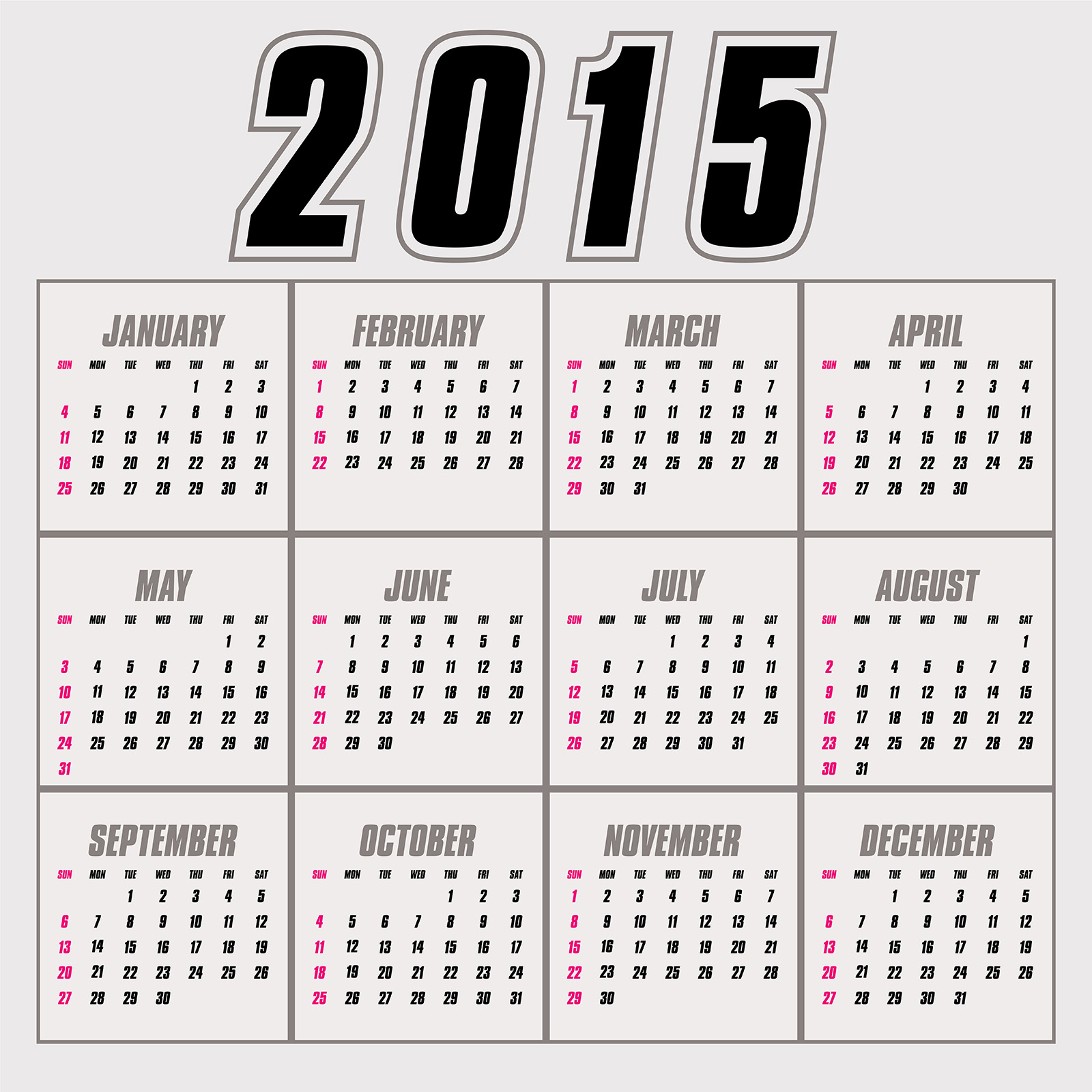 year calendar on one page 2015 page 2 printable calendar template ...