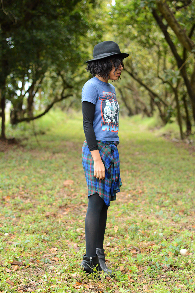 Fashion Blogger Anais Alexandre of Down to Stars wearing a vintage star wars tee shirt and vintage oversized plaid button down with marc fisher boots