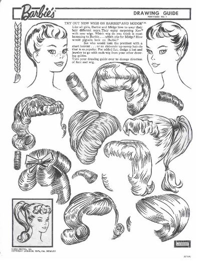 Miss Missy Paper Dolls Vintage Barbie Drawing Guide Portfolio - Barbie hair style drawing